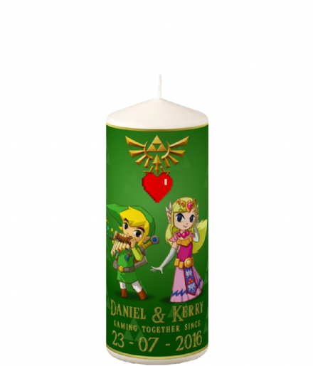 Personalised & Custom Wedding, Anniversary Pillar Candle Gift Inspired by Legend of Zelda